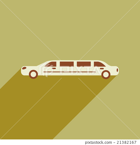 Flat web icon with long shadow limousine 21382167