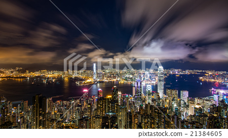 A million dollar night view from Hong Kong Victoria Peak 21384605