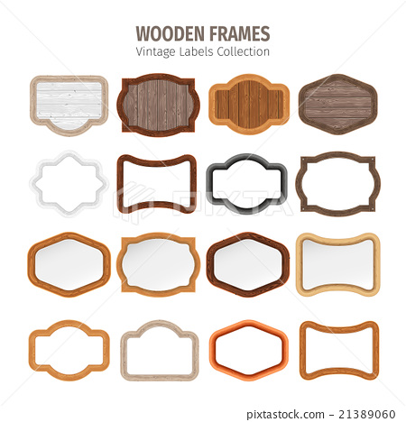 Wooden Vintage Labels Collection 21389060