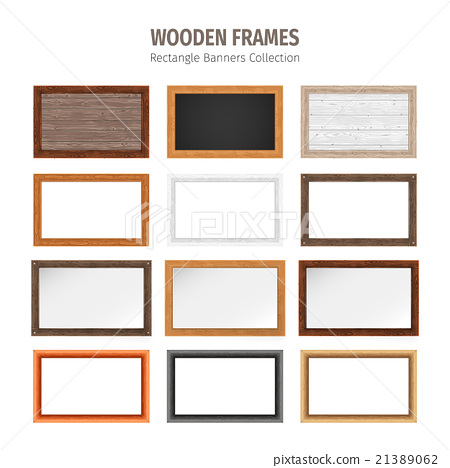 Wooden Rectangle Banners Set 21389062