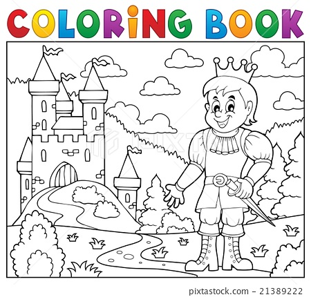 Coloring book prince near castle 21389222