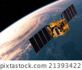 Satellite Orbiting Earth. 3D Scene. 21393422