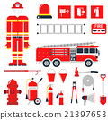 Vector Set Firefighter Fire safety Flat Icons and 21397653