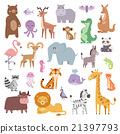 Cartoon zoo animals big set wildlife mammal flat 21397793