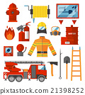 Vector Set Firefighter Fire safety Flat Icons and 21398252