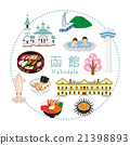Hakodate sightseeing icon set 21398893