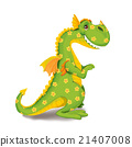 Toy dinosaur in a flower on a white background. 21407008