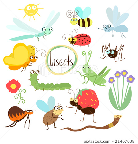 Vector insect set in cartoon style 21407639
