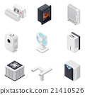 Home climate equipment isometric icon set 21410526