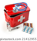 First aid kit with stethoscope, pills and syringe 21412955