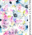 Seamless pattern with flowers watercolor 21421766