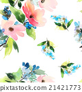 Seamless pattern with flowers watercolor 21421773