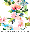 Seamless pattern with flowers watercolor 21421776