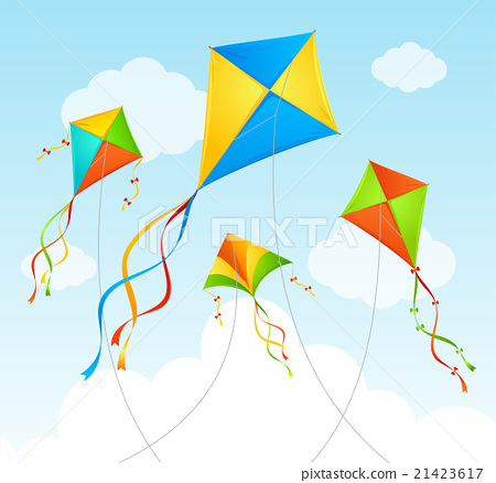 Stock Illustration: Fly Kite Summer Background. Vector