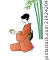 和服的一名婦女與碗 21424204
