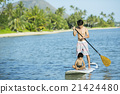 父母和小孩 站起來的槳板 海洋體育 21424480