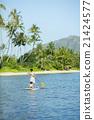 父母和小孩 站起來的槳板 海洋體育 21424577
