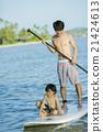 父母和小孩 站起來的槳板 海洋體育 21424613