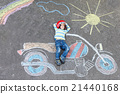 Little child in helmet with motorcycle picture 21440168