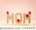 3D MOM Text with Carnation Flowers on the Table 21445995
