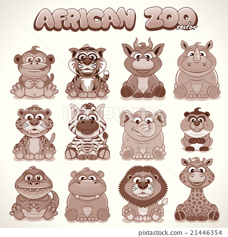 Cute Cartoon Animals. Set of Vector Characters 21446354