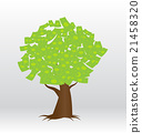 A tree growing money in the form of dollar notes 21458320