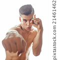 young handsome naked torso man boxing on white 21461462