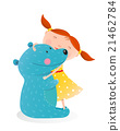 girl, bear, vector 21462784