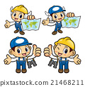 Repairman Character holding a Paper map. 21468211