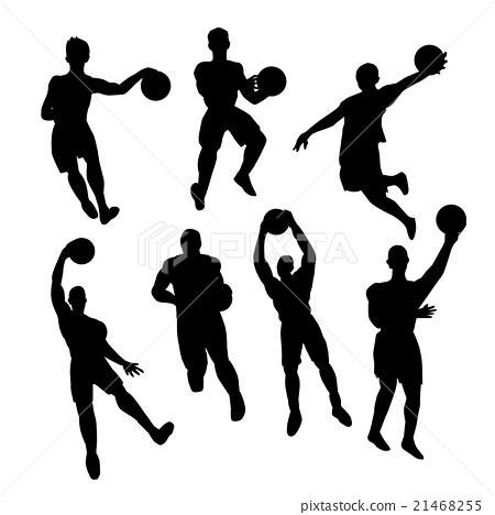 Set of basketball players silhouette 21468255