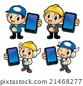 Engineer Character is holding a smart phone. 21468277