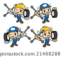Car Mechanic is holding the cross wrench and tire. 21468288