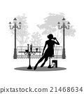 Silhouette of beautiful girl sitting in cafe. 21468634
