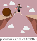 Business woman jumps the abyss with the weight 21469963