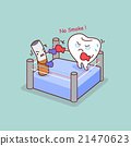 cartoon tooth boxing with cigarette 21470623