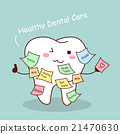 cute cartoon tooth with memo 21470630