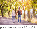 Couple in love  in autumn nature on a walk 21478730