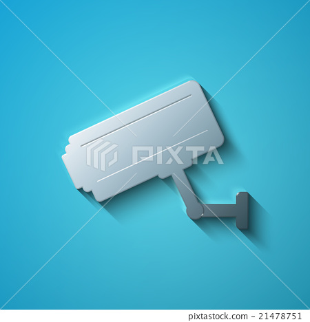 Security concept: flat metallic Cctv Camera icon 21478751