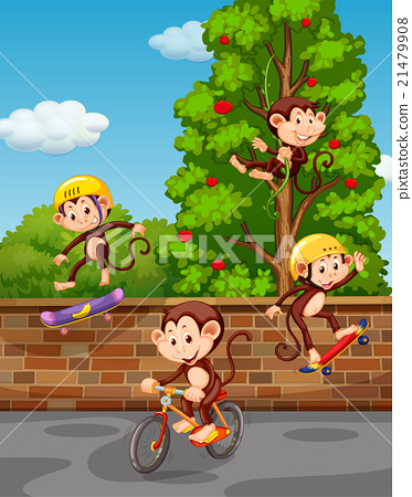 Stock Illustration: Four monkeys playing on the street