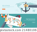 Vector illustration. Flat backgrounds set. Travel 21480106