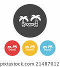 Coconut tree hammock icon 21487012