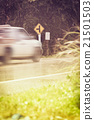 Traffic sign, motion blurred pick-up truck. 21501503
