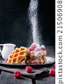 Belgian waffles with raspberries 21506908