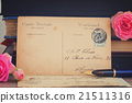 antique empty postcard with flowers and quill pen 21511316