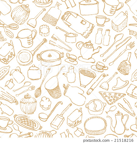 Kitchen miscellaneous goods cafe hand-painted illustration background 21518216