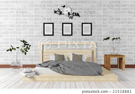 White minimal and loft style bedroom interior  21518881