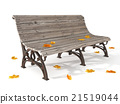 Wooden bench with dry yellow leaves on the ground  21519044
