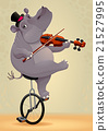 Funny hippo on an unicycle 21527995