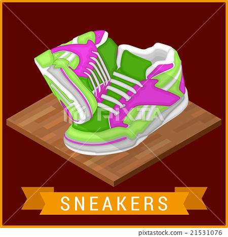 Pair sneakers flat isometric icon 21531076