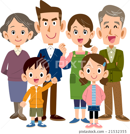 Family 3 generations 6 people whole body 21532355